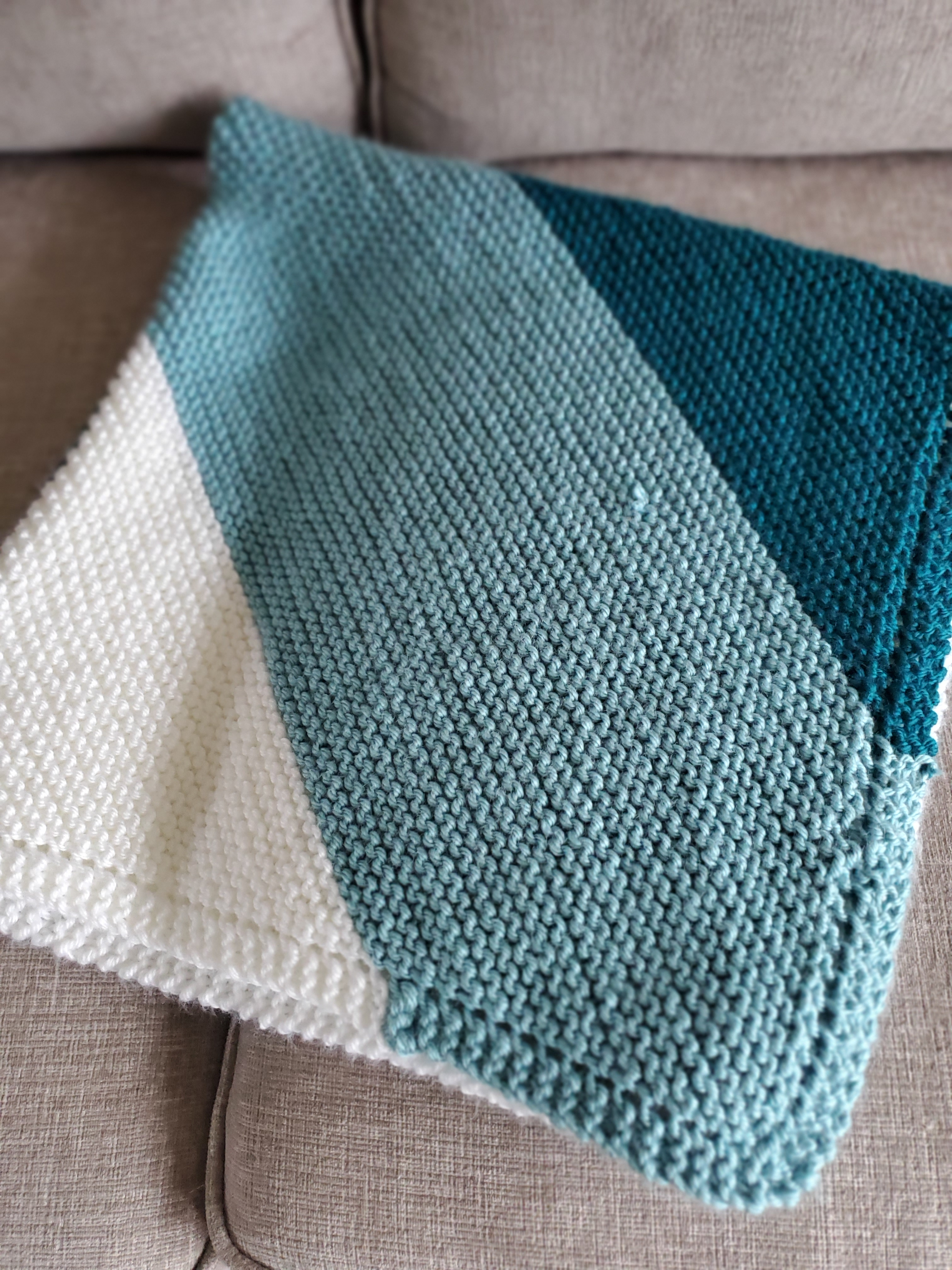 Tri Coloured Diagonal Garter Stitch Blanket Peartree Knitting
